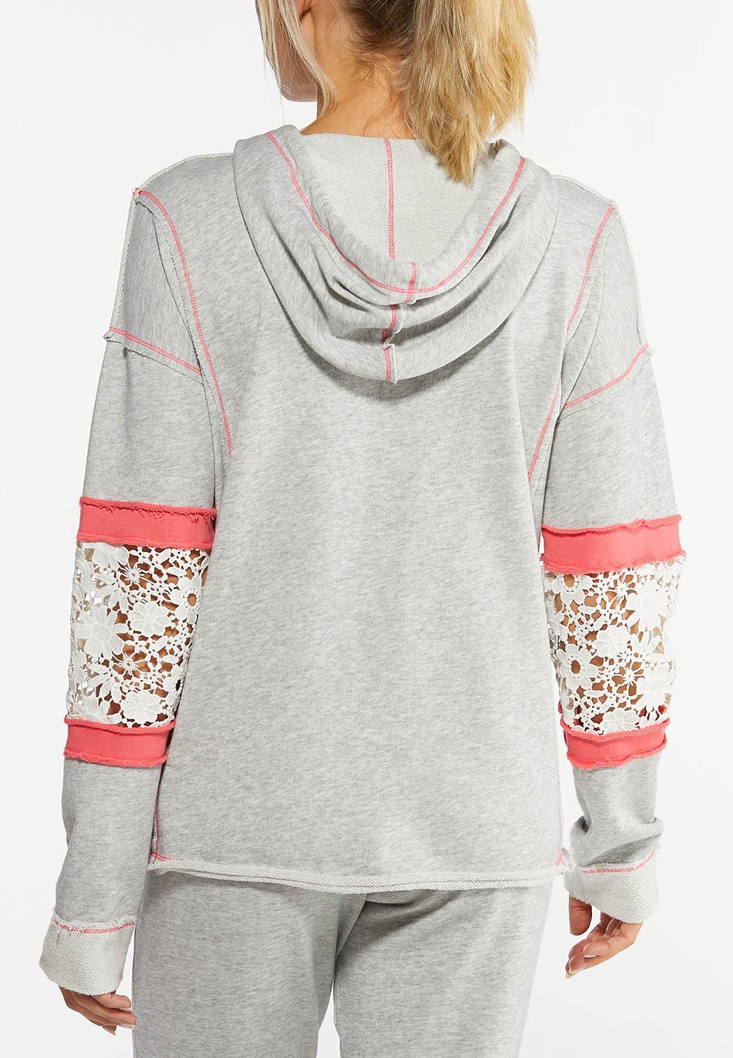 Plus Size Lace Inset Hoodie (Item #44457983)