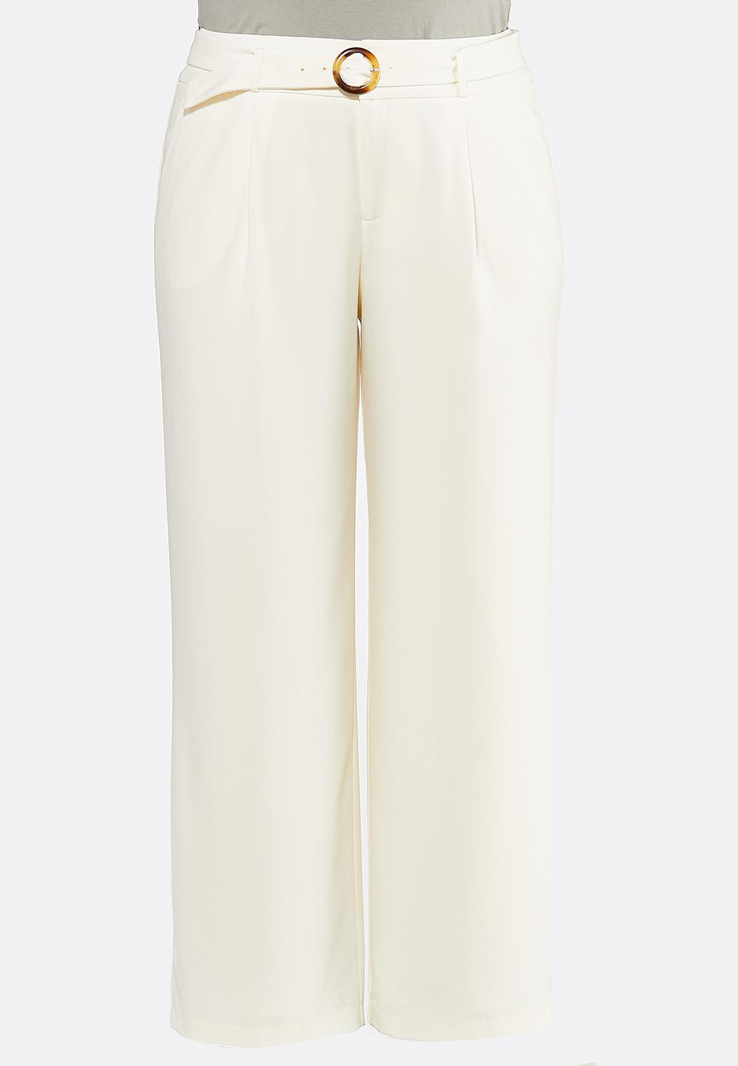 Plus Size Ivory Belted Pants (Item #44458018)