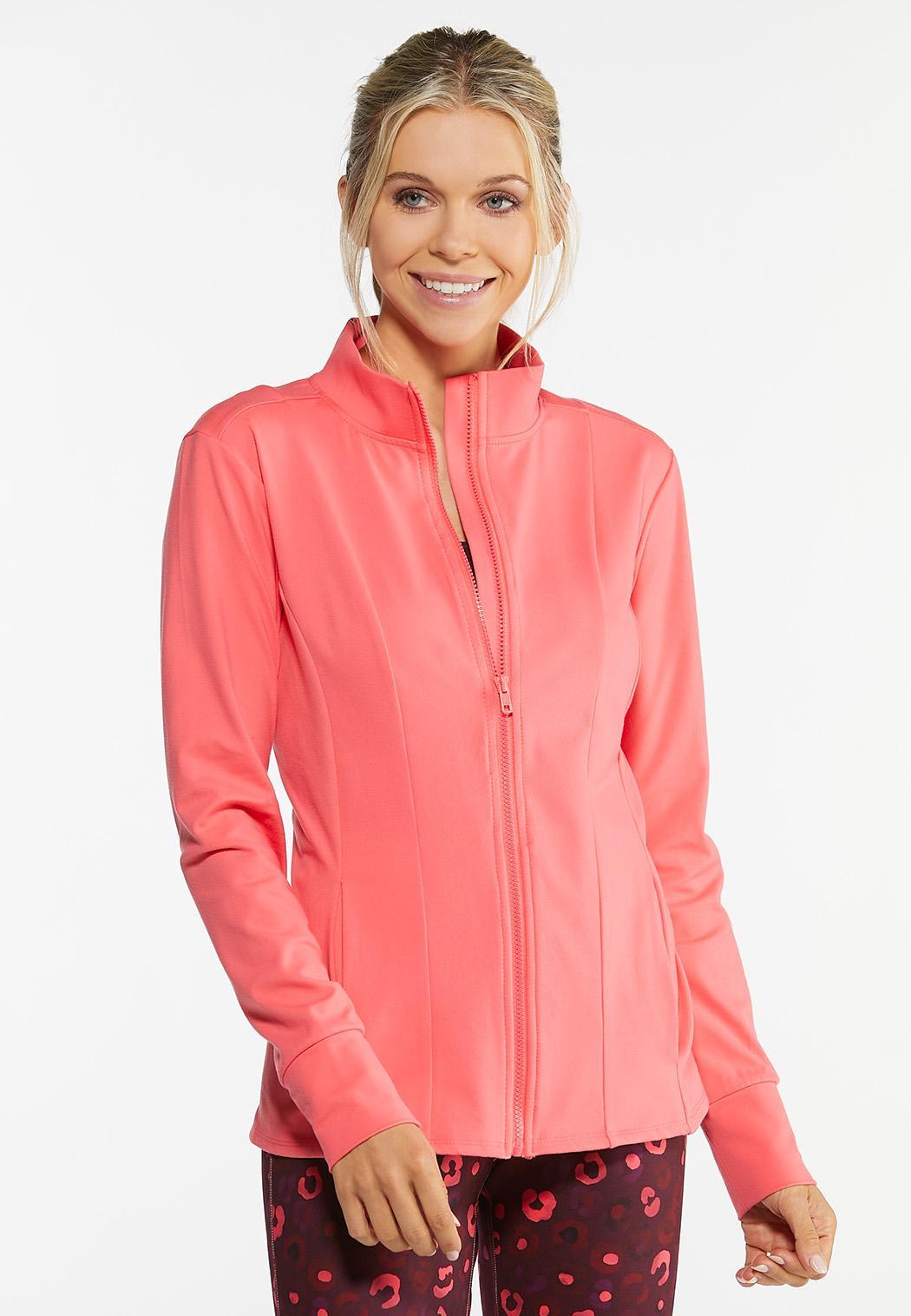 Plus Size Coral Zip Athleisure Jacket (Item #44458076)