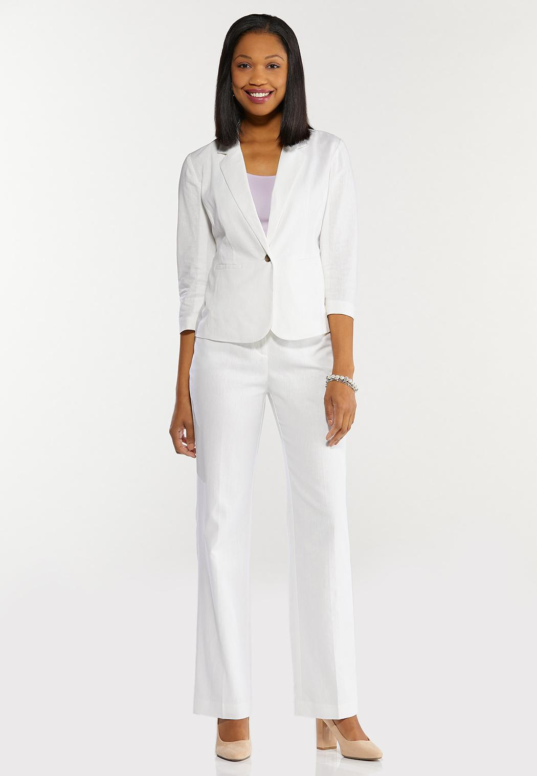 Petite White Linen Trouser Pants (Item #44458154)