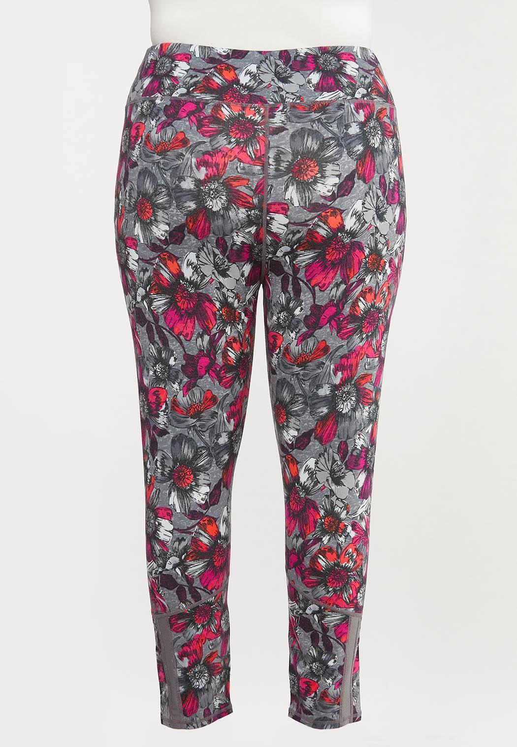 Plus Size Fuchsia Sketch Floral Leggings (Item #44458356)