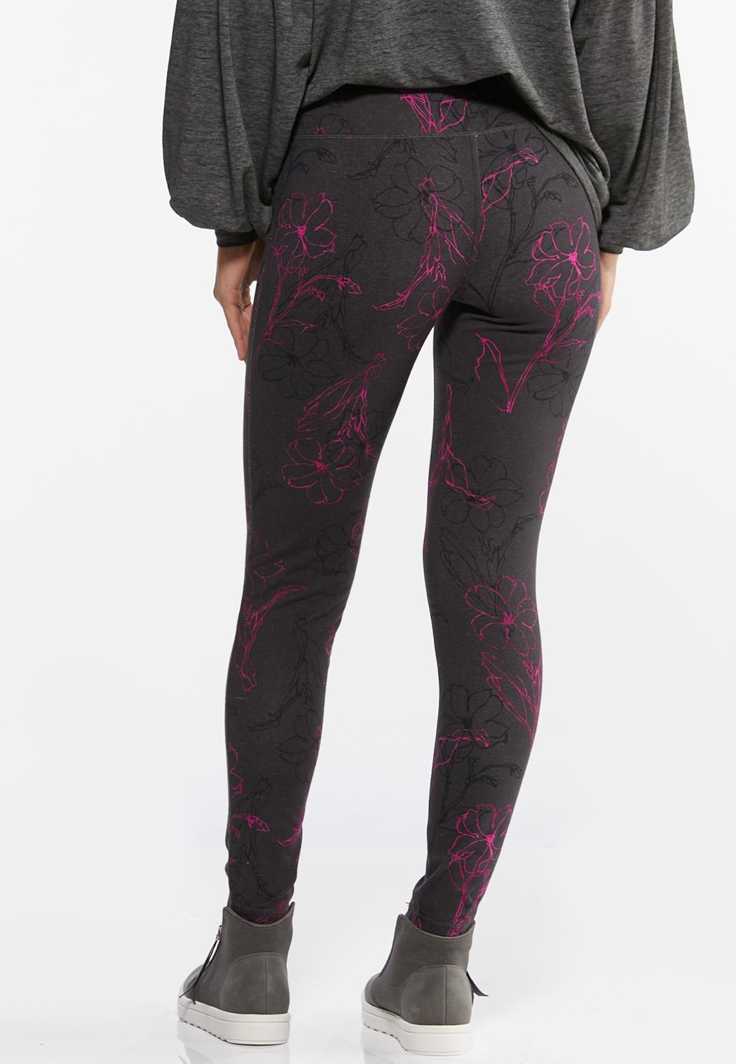 Purple Sketch Floral Leggings (Item #44458364)