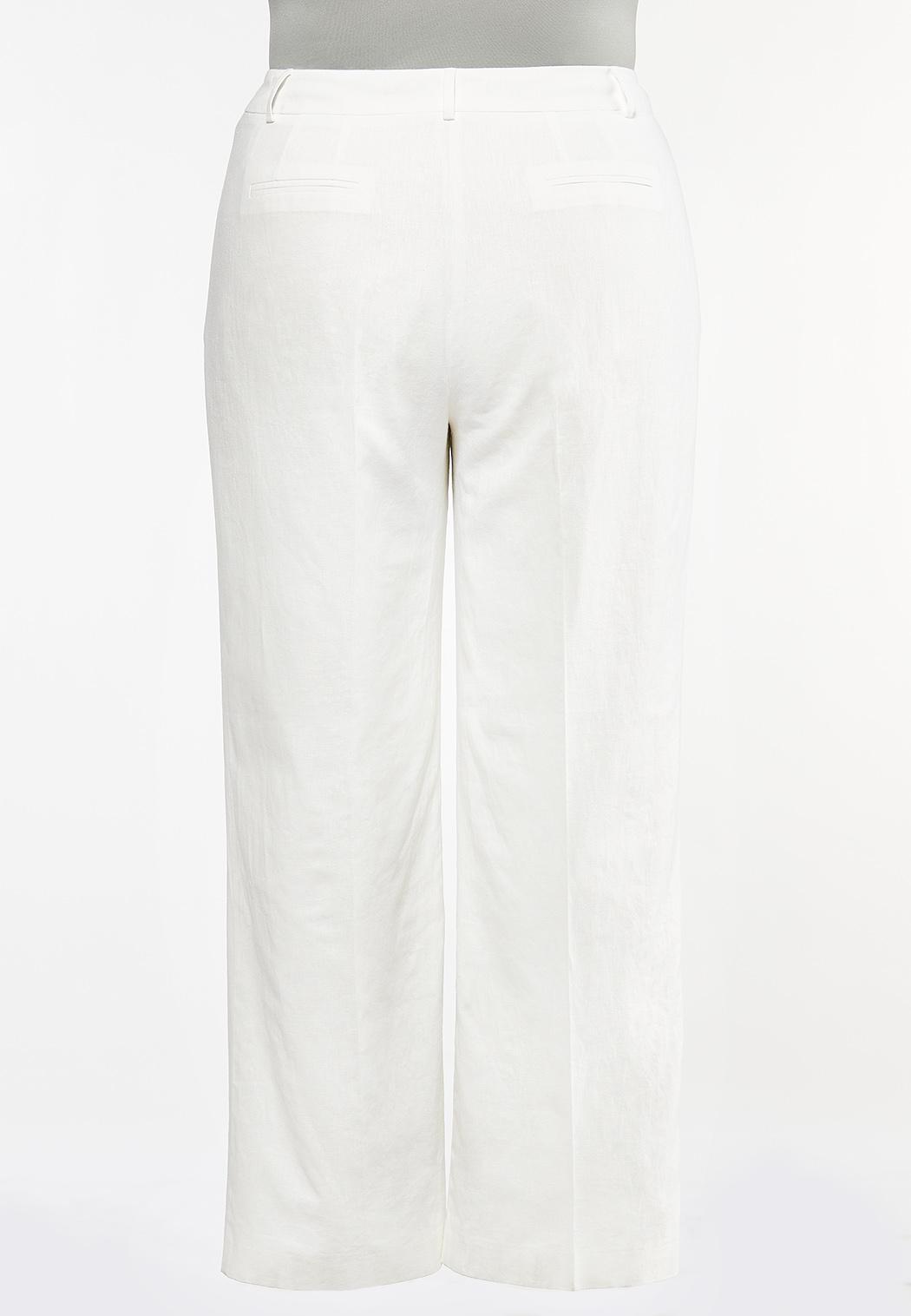 Plus Size White Linen Trouser Pants (Item #44458365)