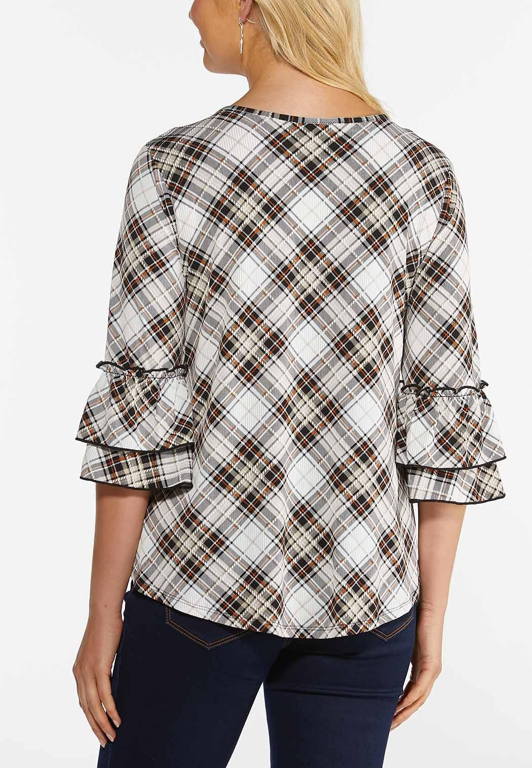 Plus Size Plaid Tiered Sleeve Top (Item #44458415)