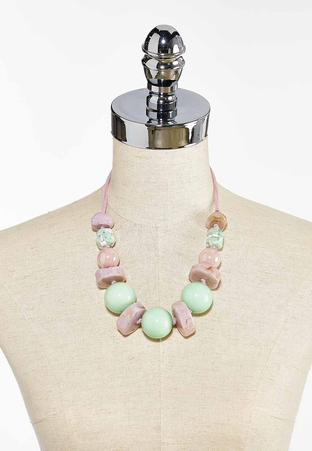 Pink Green Bead Cord Necklace (Item #44458673)
