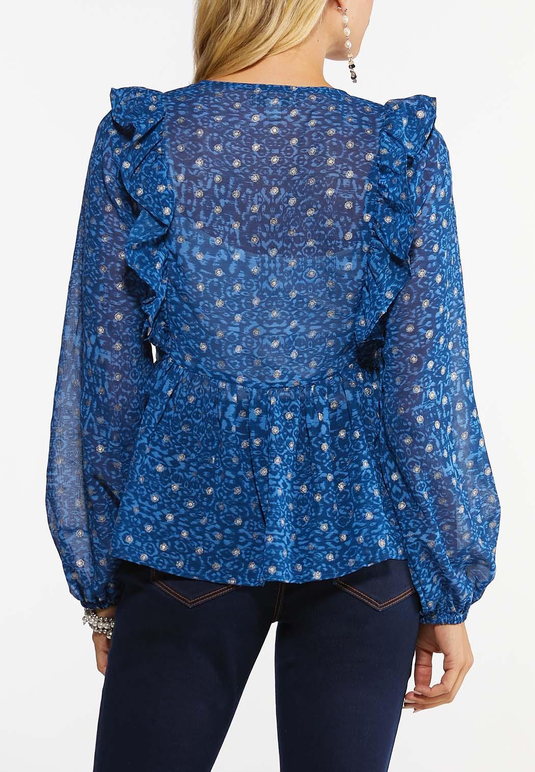 Plus Size Sparkle Dot Peplum Top (Item #44458819)
