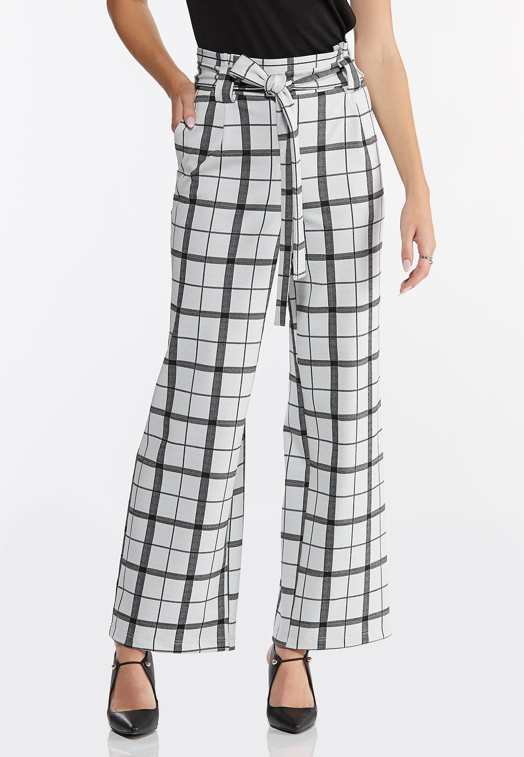 Petite Plaid Paperbag Trouser Pants (Item #44458894)