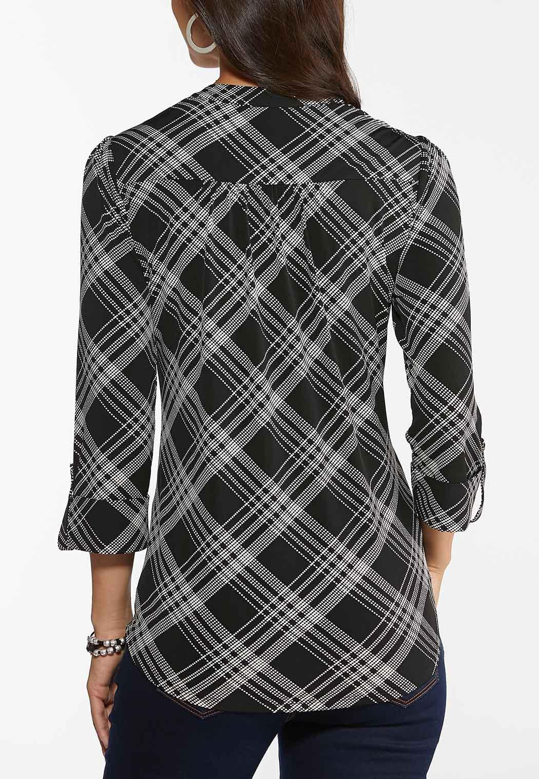 Plus Size Dotted Plaid Top (Item #44459007)