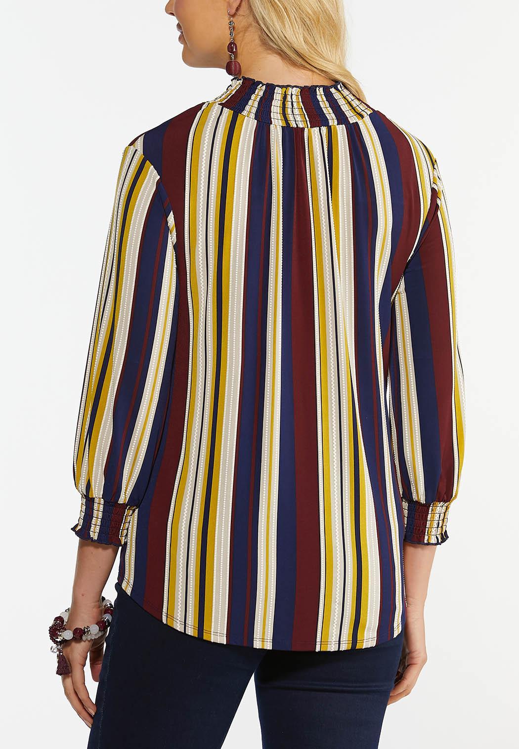 Stripe Smock Neck Top (Item #44459021)