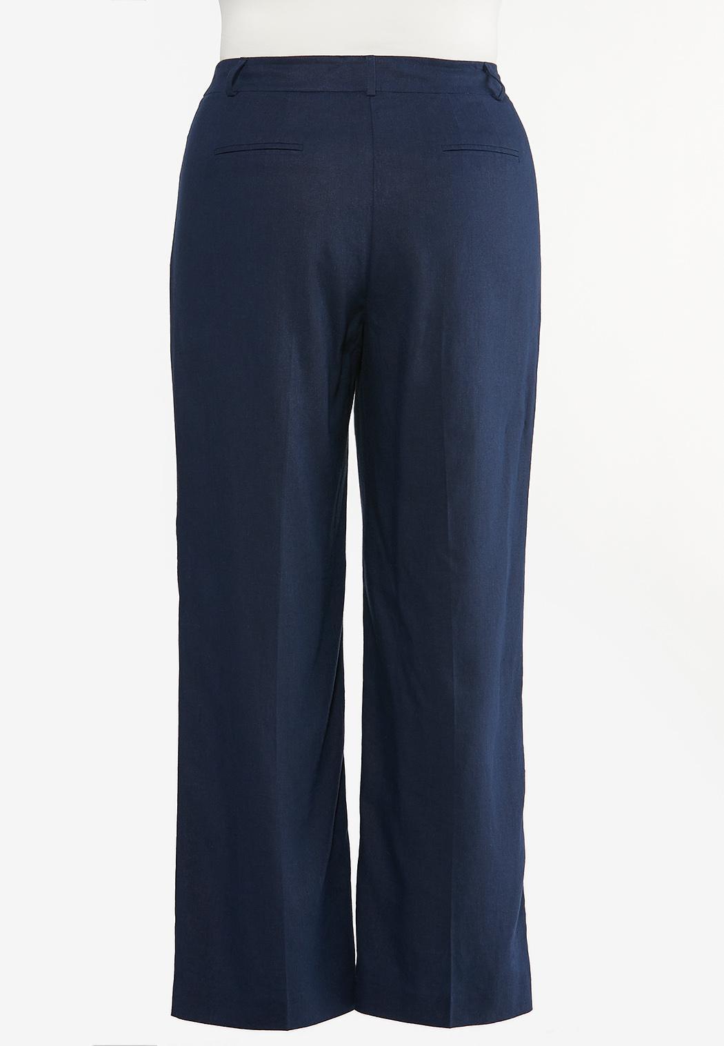 Plus Size Linen Trouser Pants (Item #44459066)