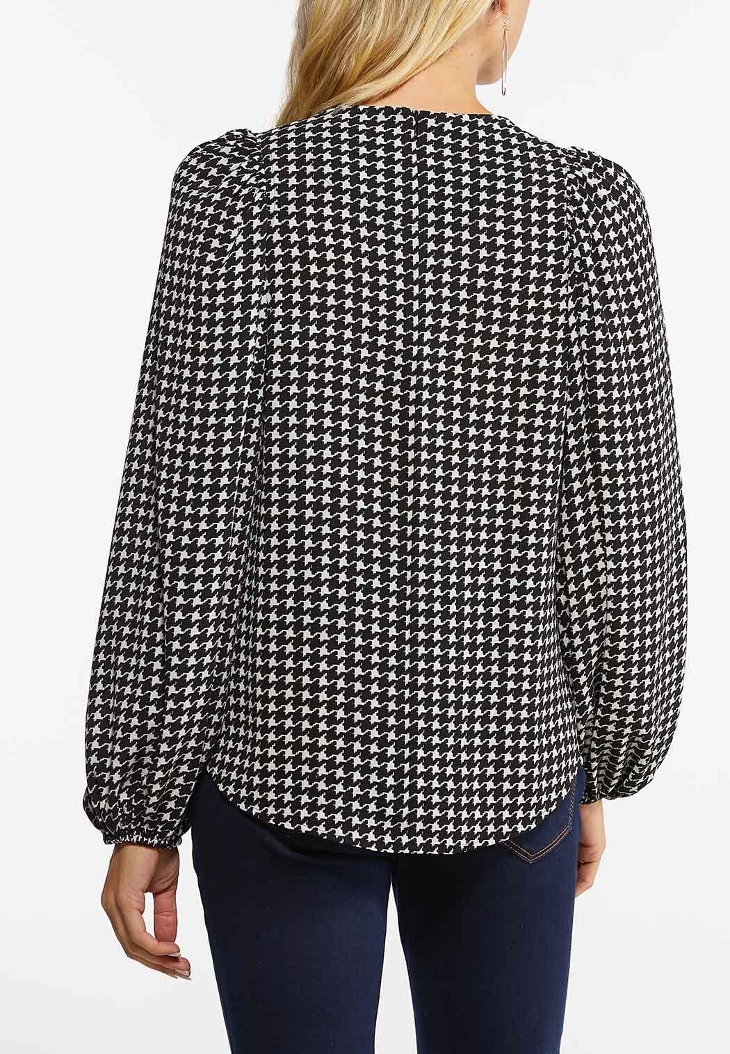 Plus Size Houndstooth Balloon Sleeve Top (Item #44459161)