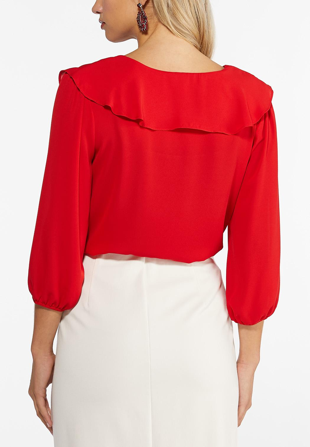 Plus Size Red Ruffled Top (Item #44459408)