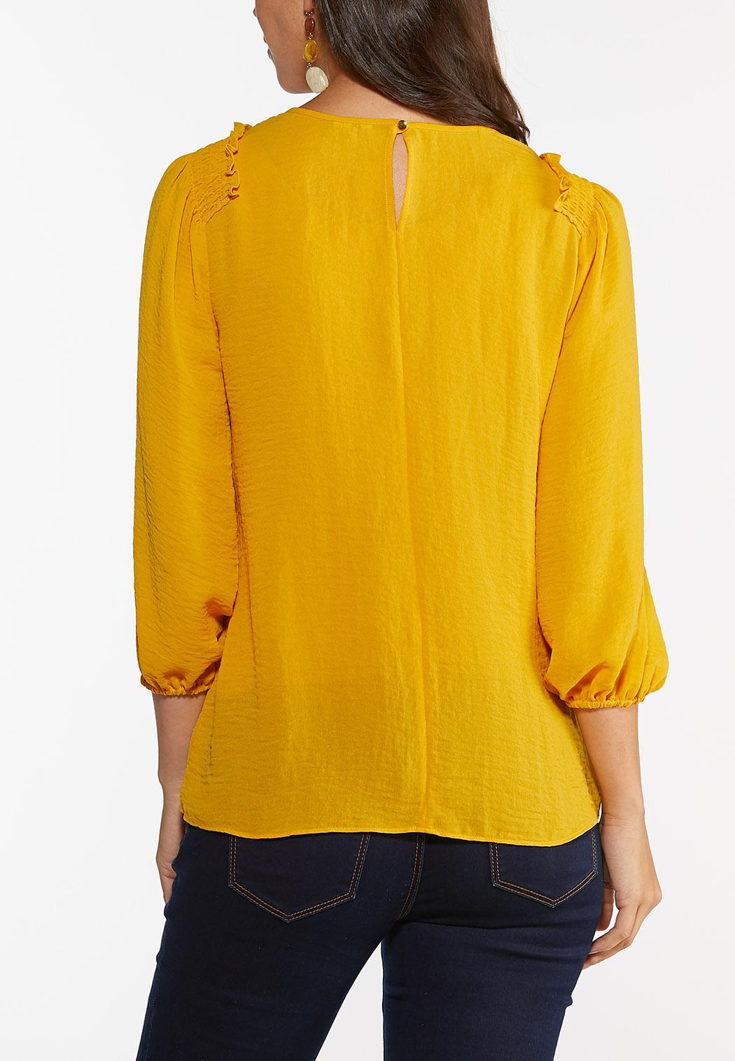 Plus Size Solid Smocked Shoulder Top (Item #44459499)