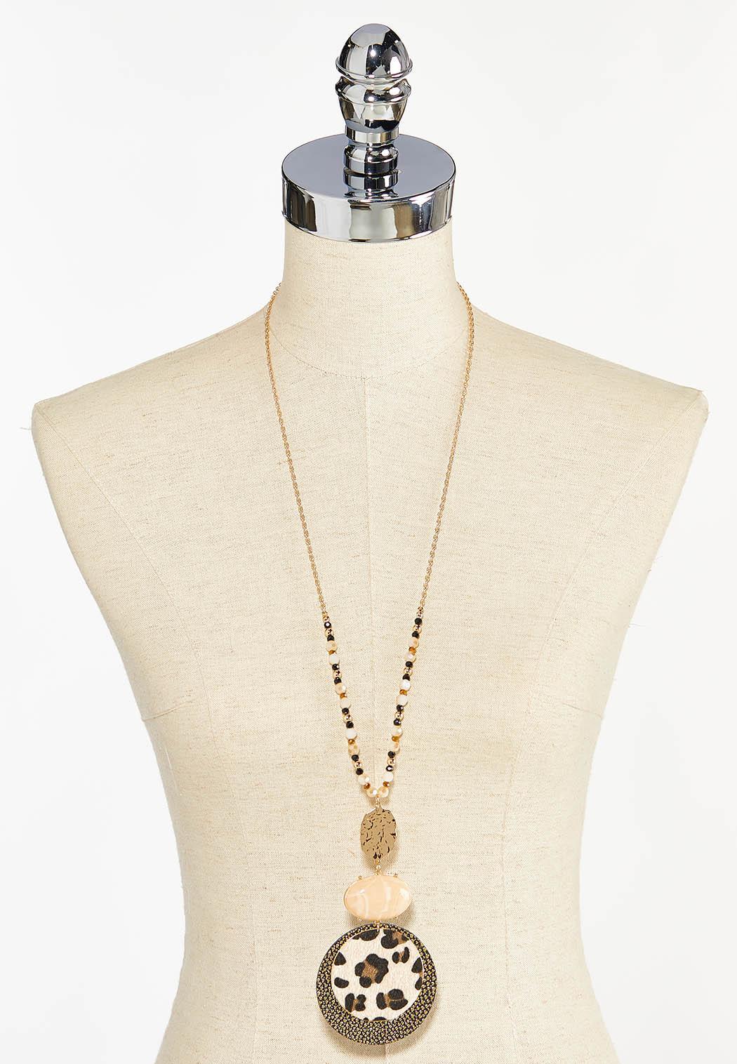 Leopard Disc Pendant Necklace (Item #44459549)