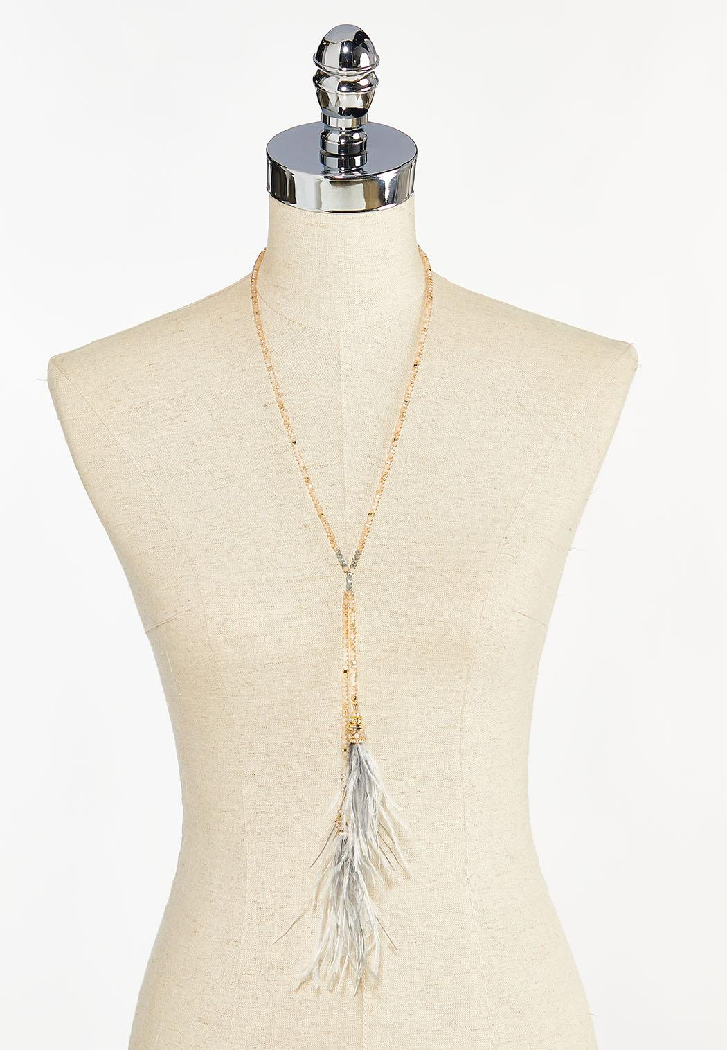 Rondelle Bead Feather Necklace (Item #44459588)