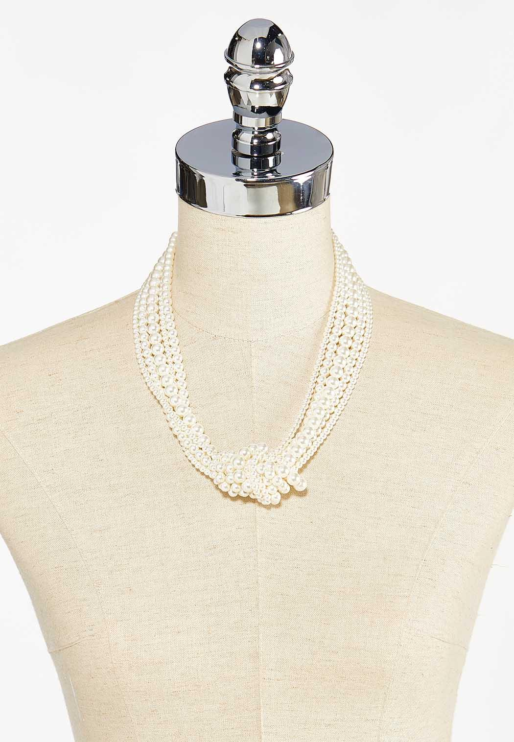 Layered Knotted Pearl Necklace (Item #44459920)