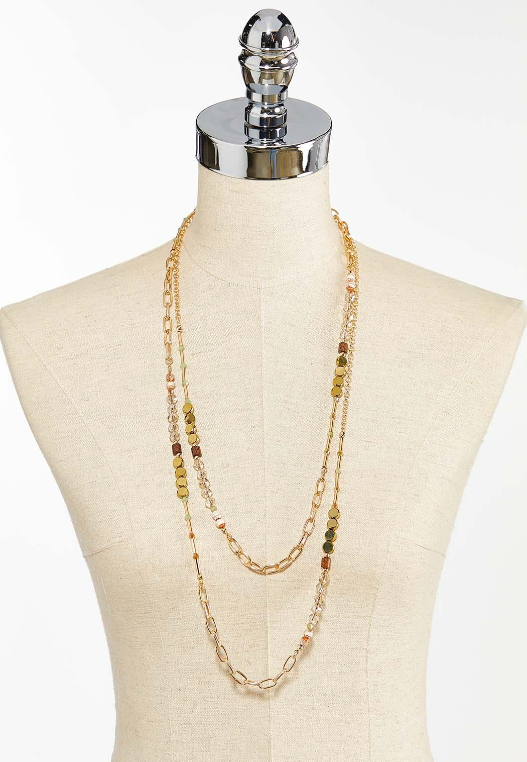 Layered Chain Bead Necklace (Item #44459994)