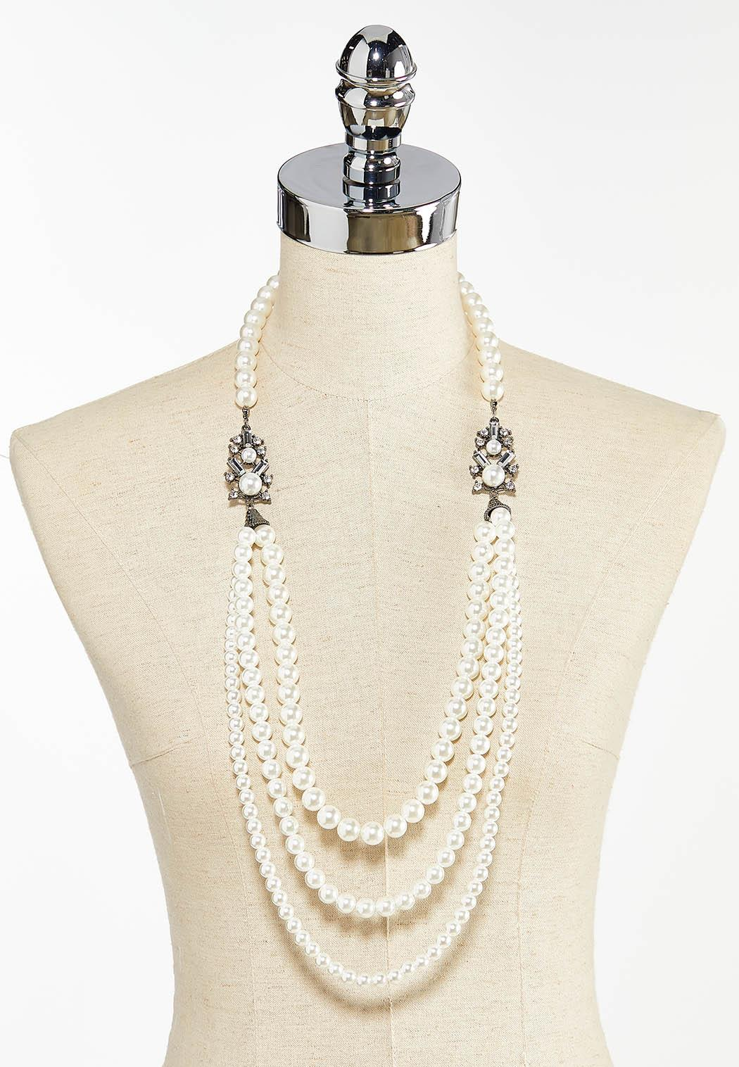 Sparkly Layered Pearl Necklace (Item #44460045)