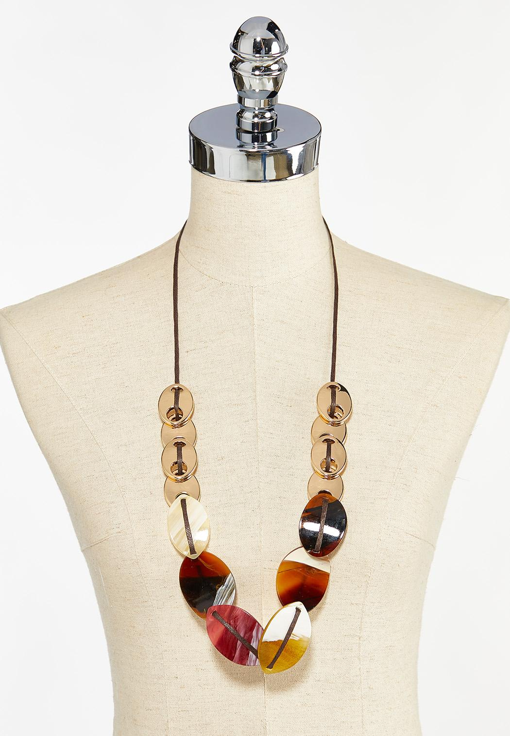 Mixed Disk Cord Necklace (Item #44461016)