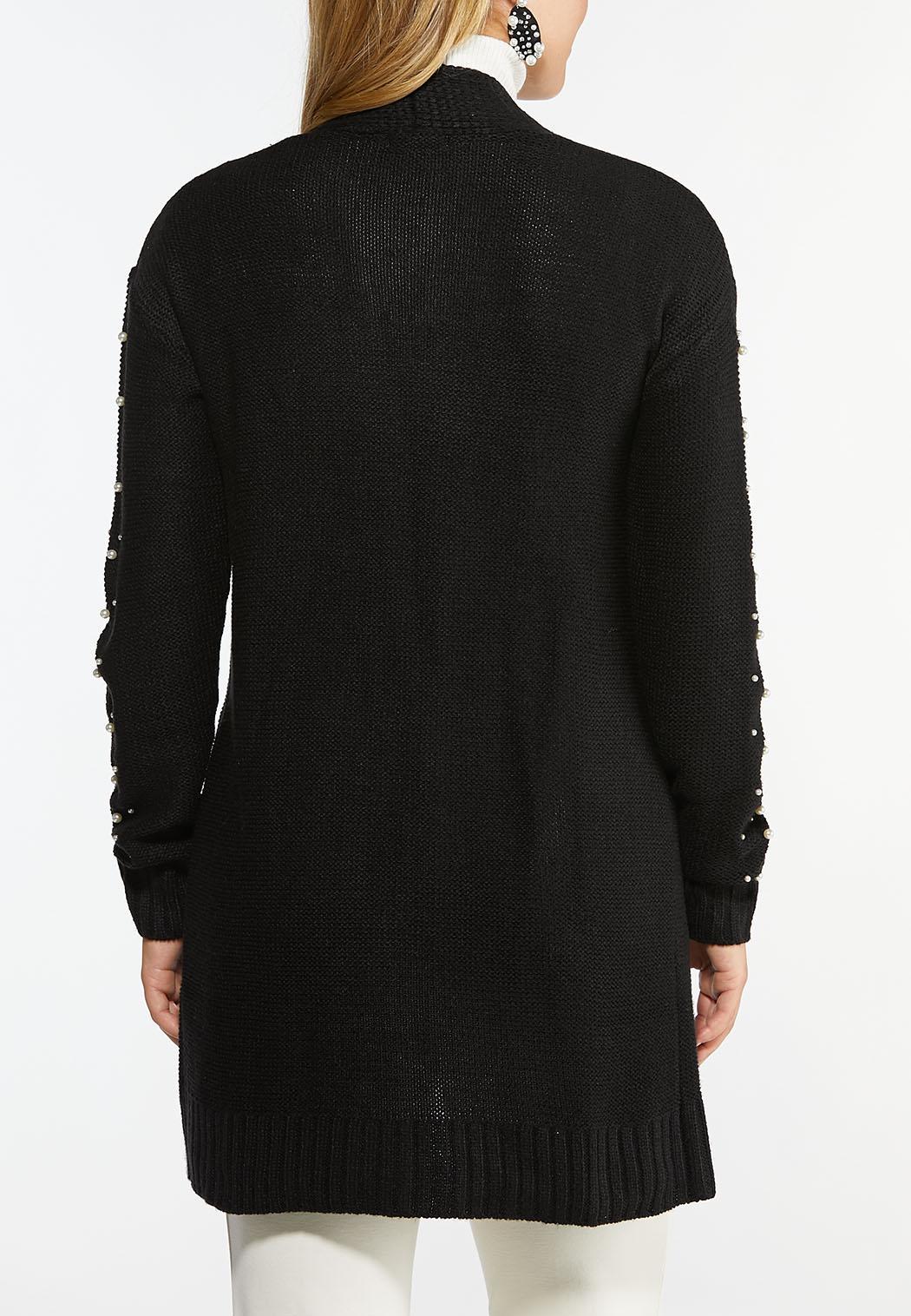 Plus Size Pearl Embellished Cardigan Sweater (Item #44461048)