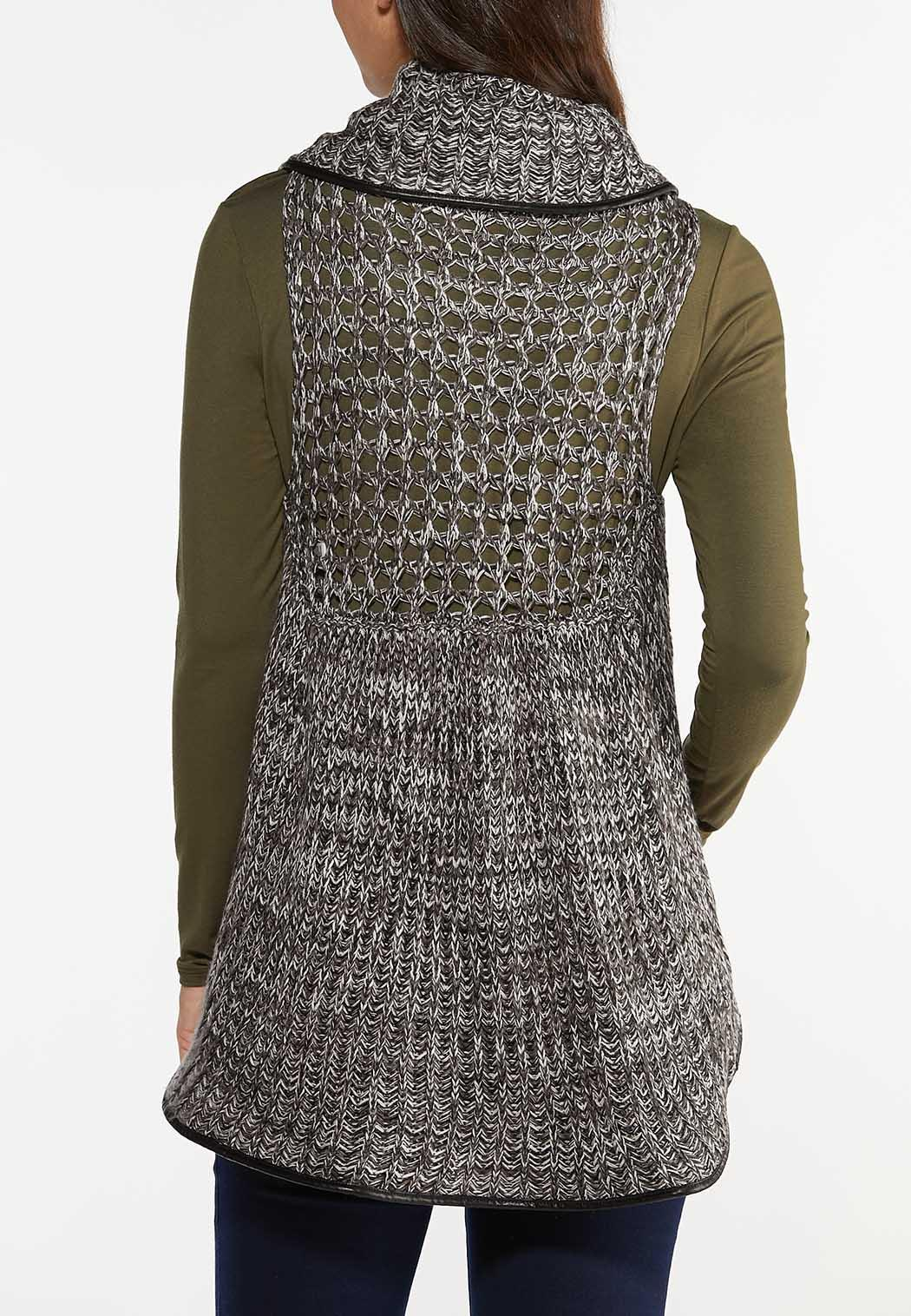 Plus Size Faux Leather Trim Sweater Vest (Item #44461089)