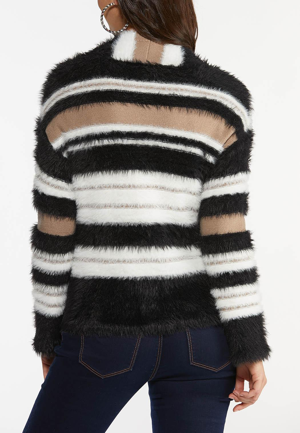Plus Size Fuzzy Striped Cardigan Sweater (Item #44461455)