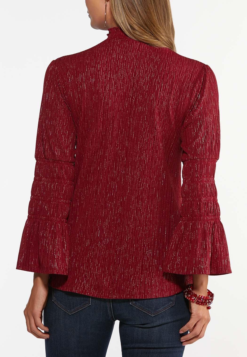 Plus Size Merlot Foiled Smocked Top (Item #44461497)