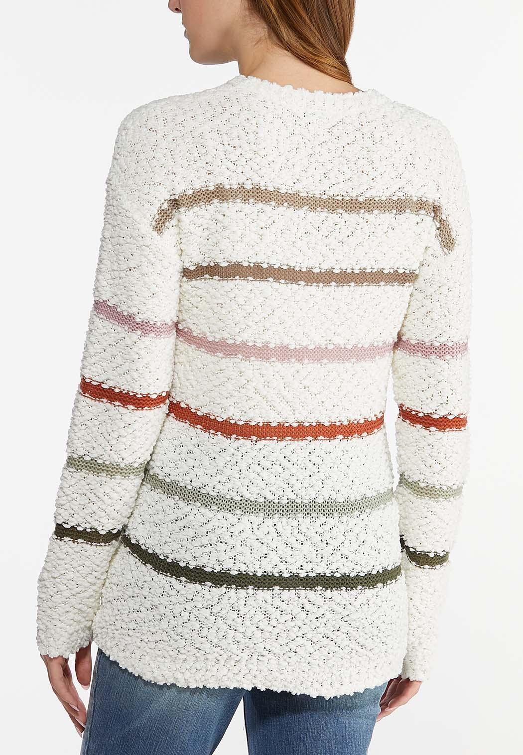 Plus Size Striped Popcorn Sweater (Item #44461561)