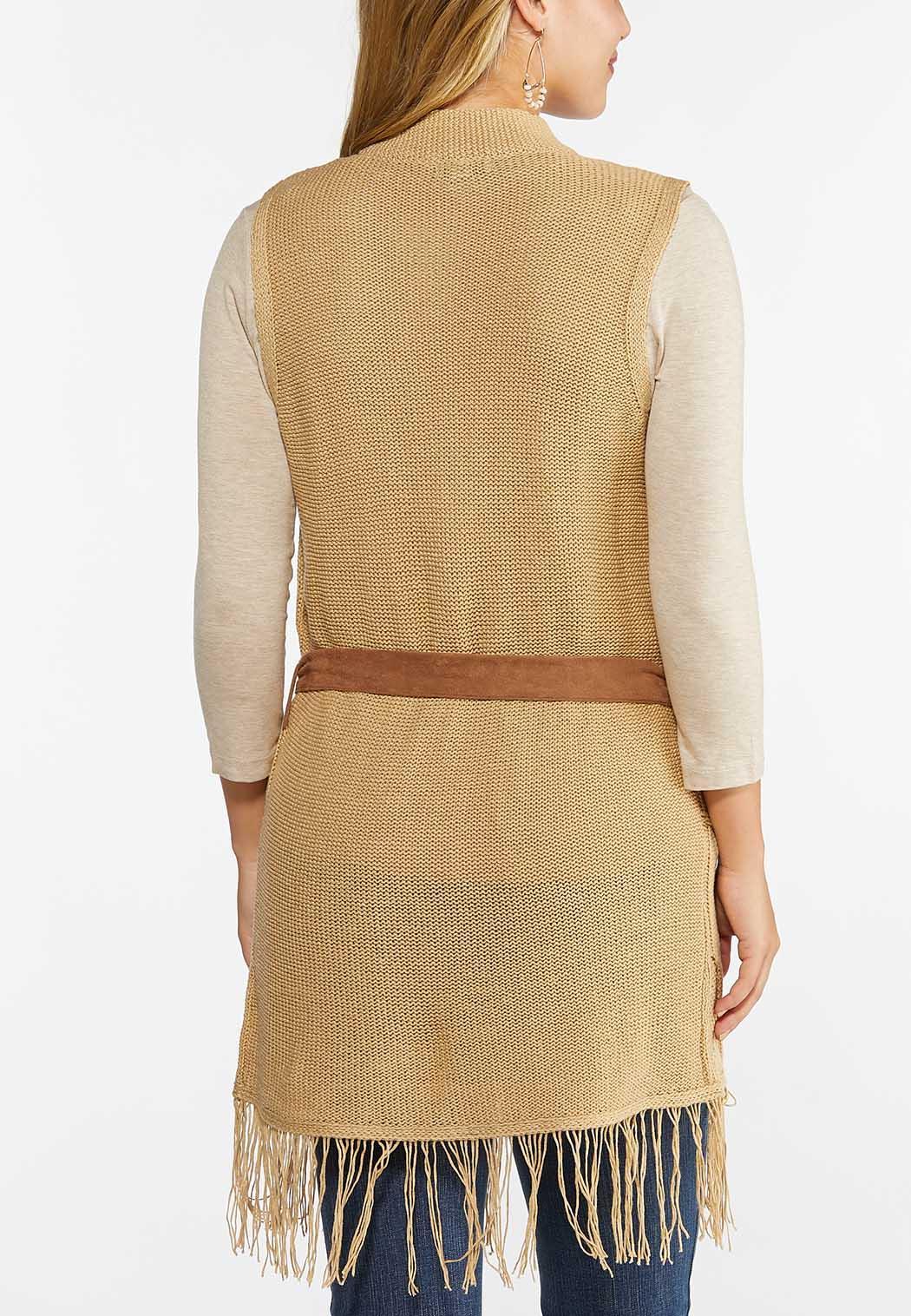 Belted Fringe Sweater Vest (Item #44461655)