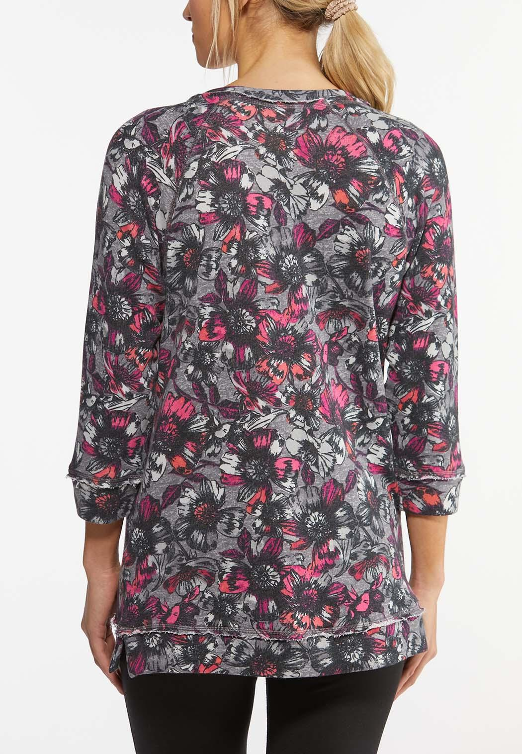 Plus Size Fuchsia Floral French Terry Top (Item #44462171)