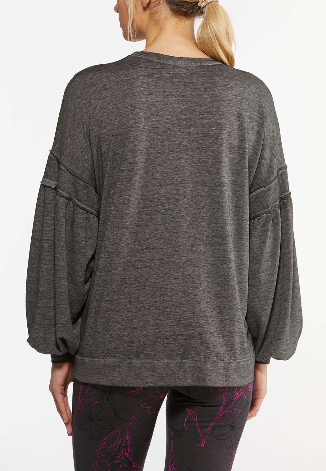 Plus Size Balloon Sleeve Gray Wash Top (Item #44462238)