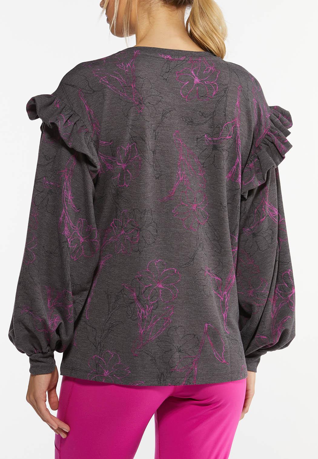 Plus Size Floral Ruffled Trim Sweatshirt (Item #44462648)