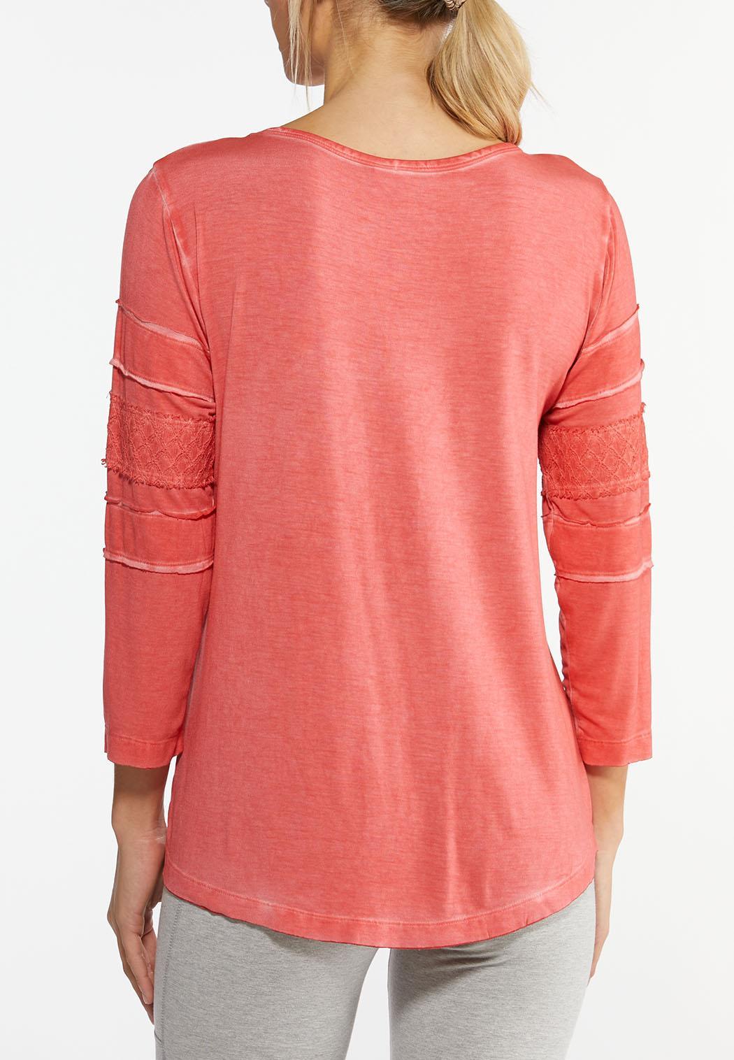 Orange Crochet Sleeve Top (Item #44462658)