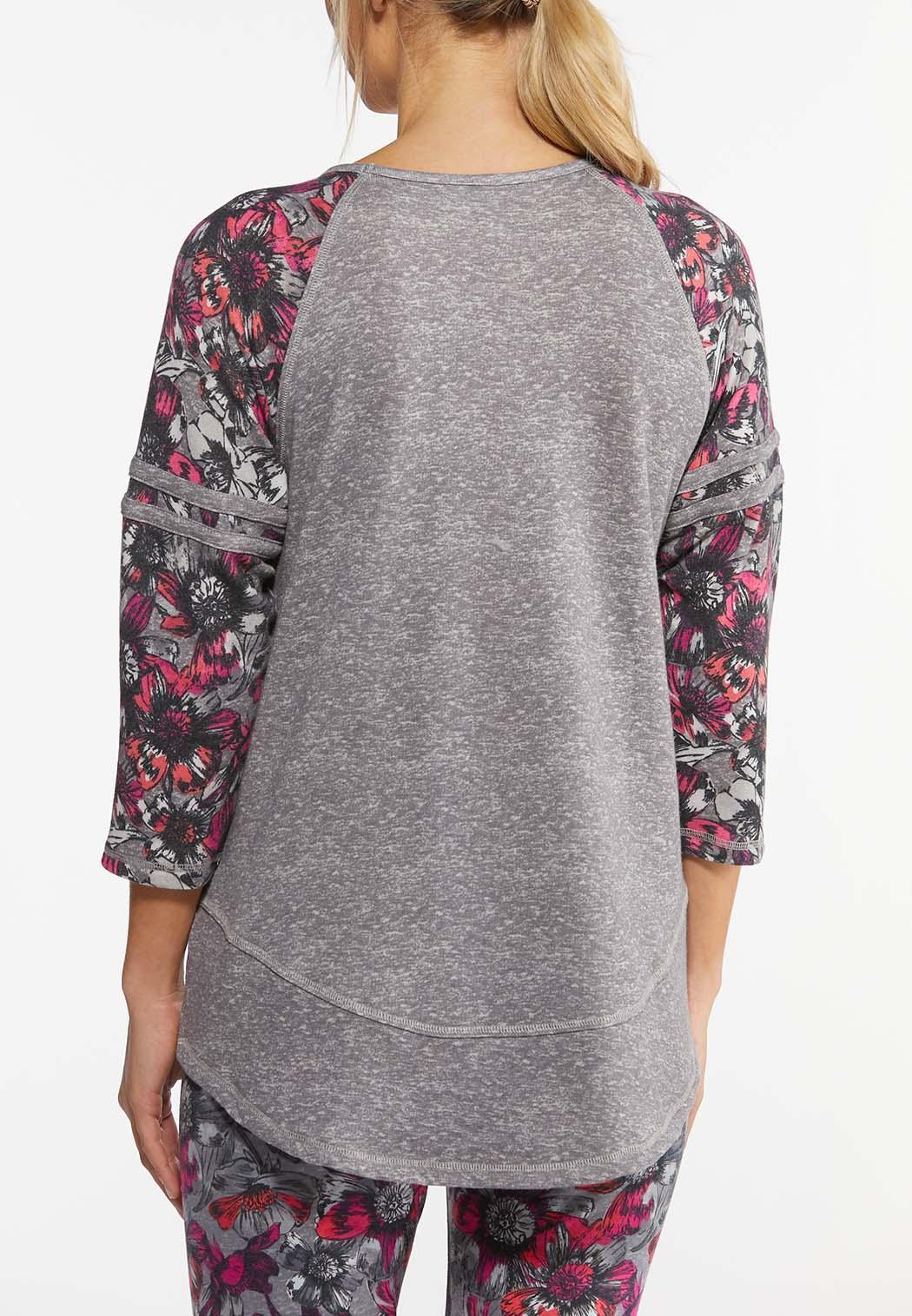 Floral Sleeve Baseball Top (Item #44462763)