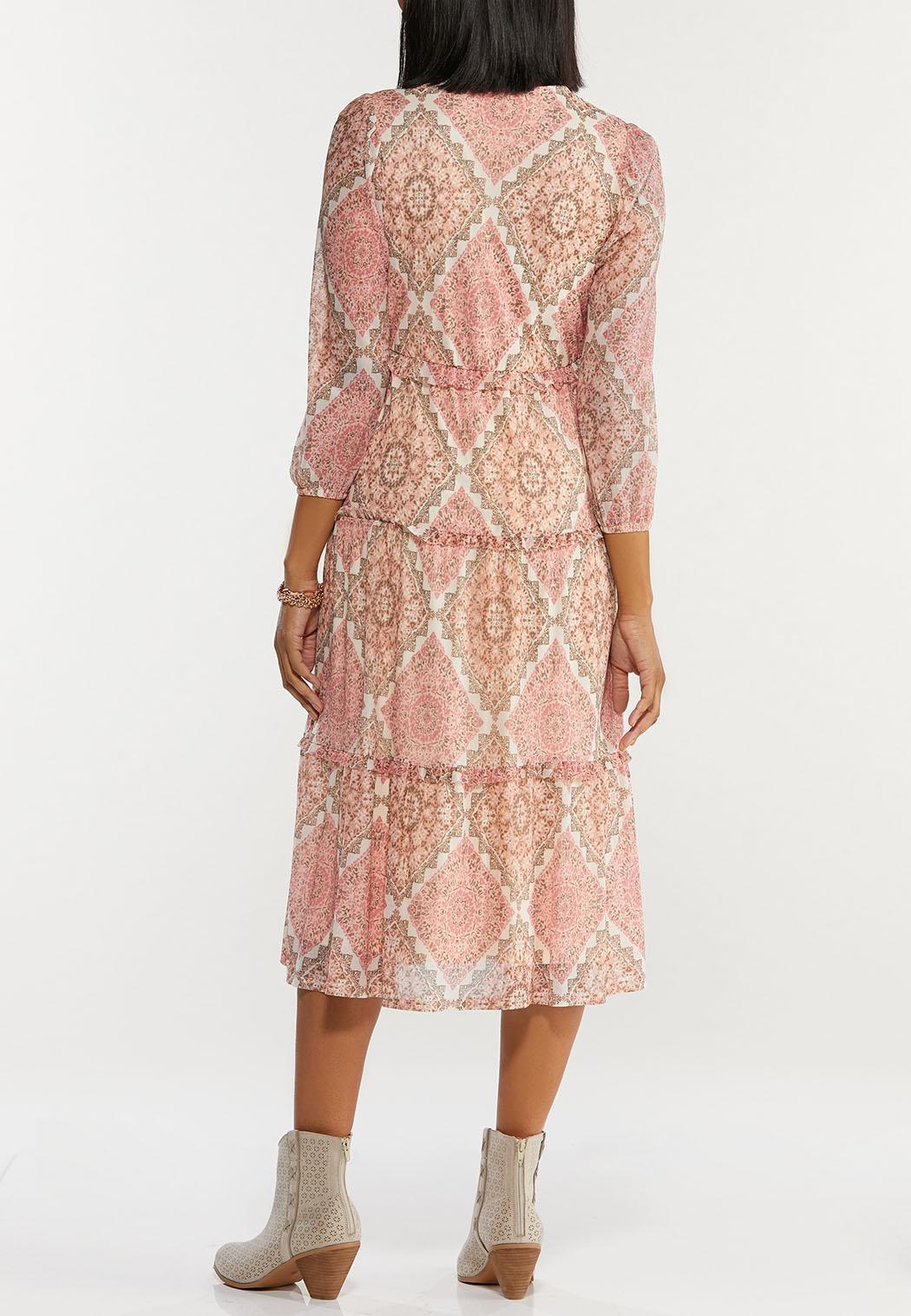 Plus Size Rose Medallion Mesh Midi Dress (Item #44463040)
