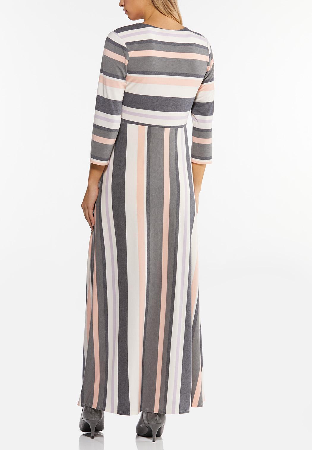 Plus Size Mixed Stripe Maxi Dress (Item #44463265)