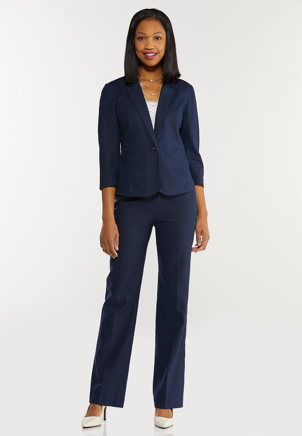 Plus Size Solid Linen Blazer (Item #44463311)