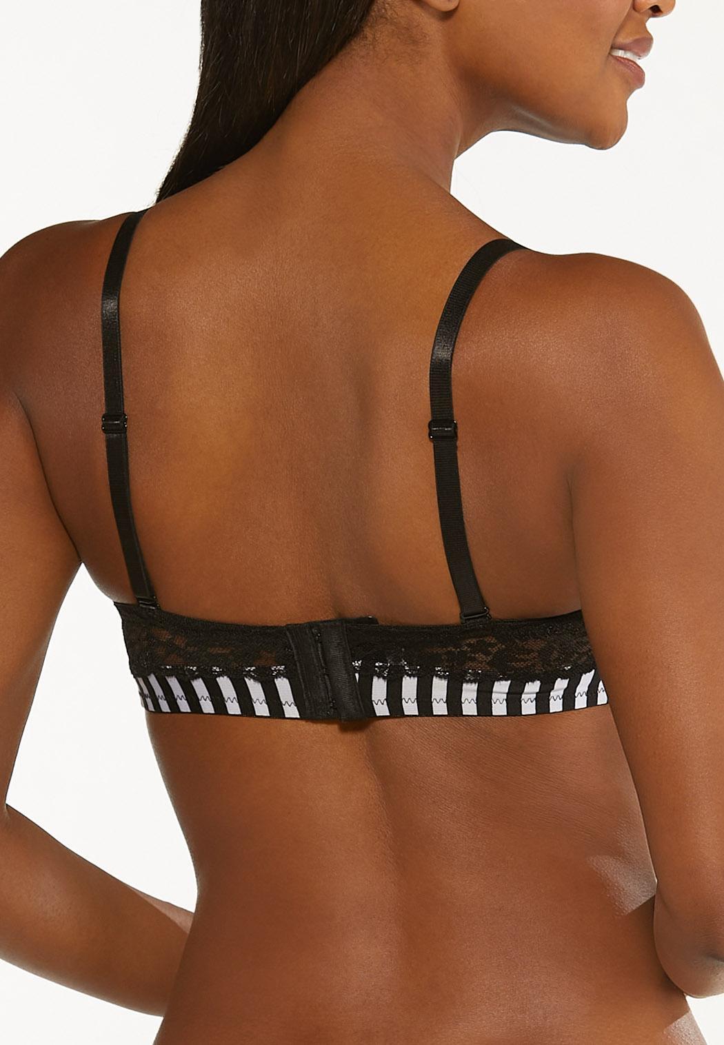 Plus Size Striped Convertible Bra Set (Item #44463380)