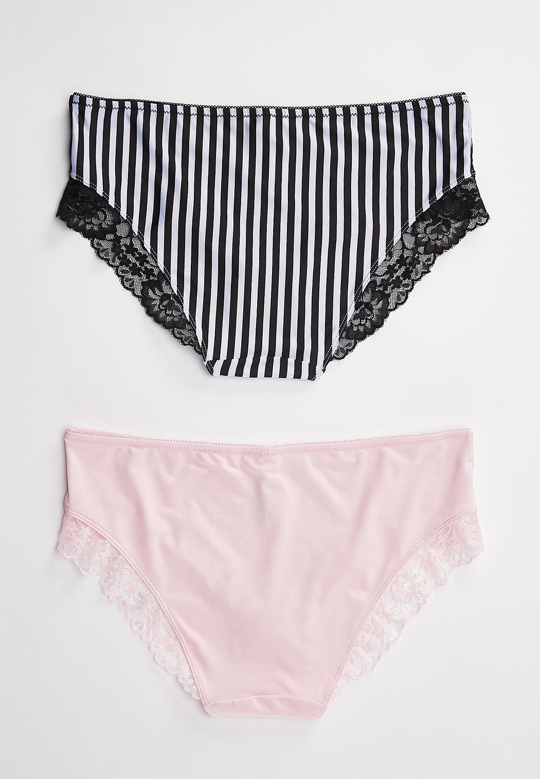 Plus Size Striped Hipster Panty Set (Item #44463391)