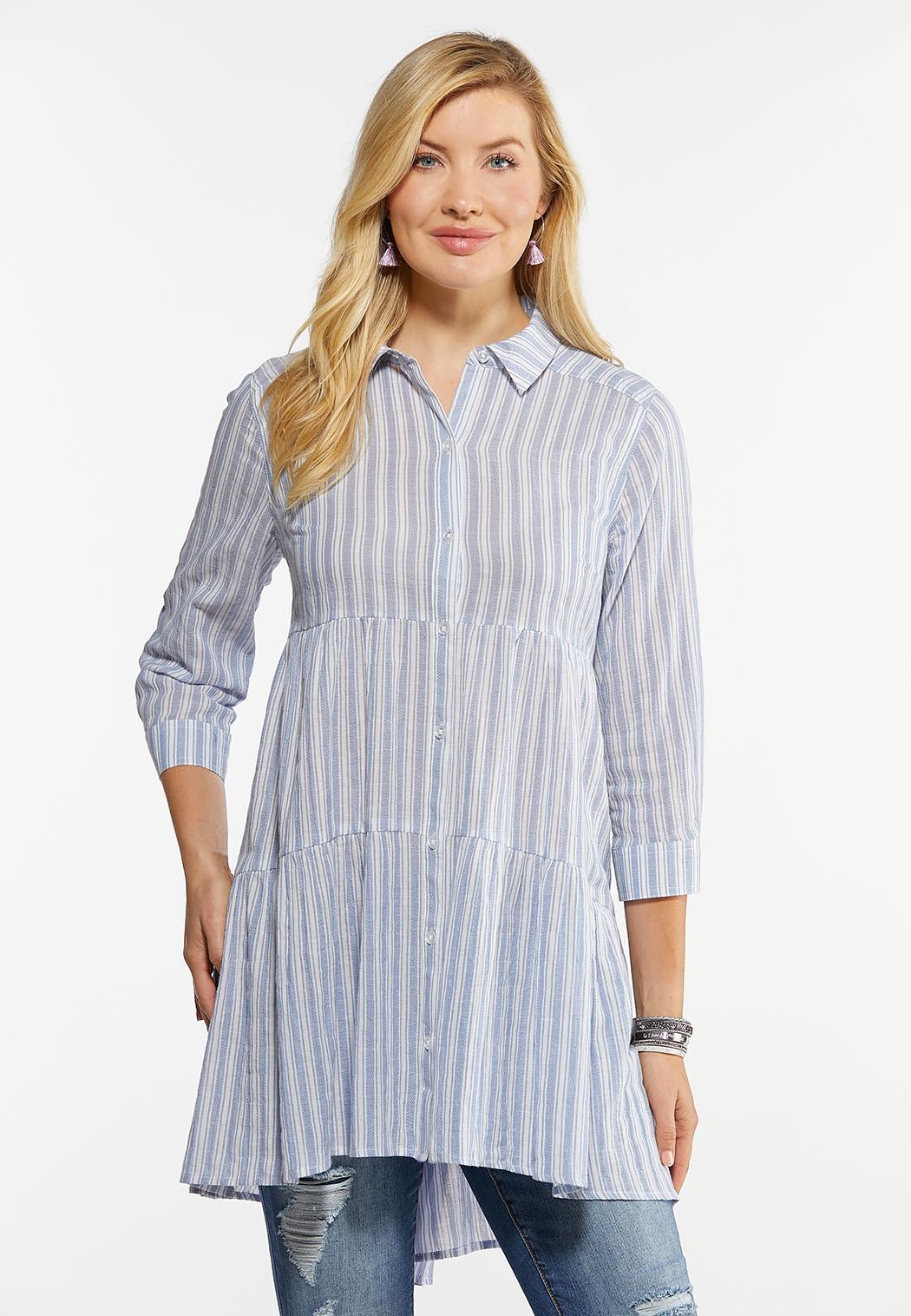 Plus Size Navy Stripe Tunic (Item #44464077)