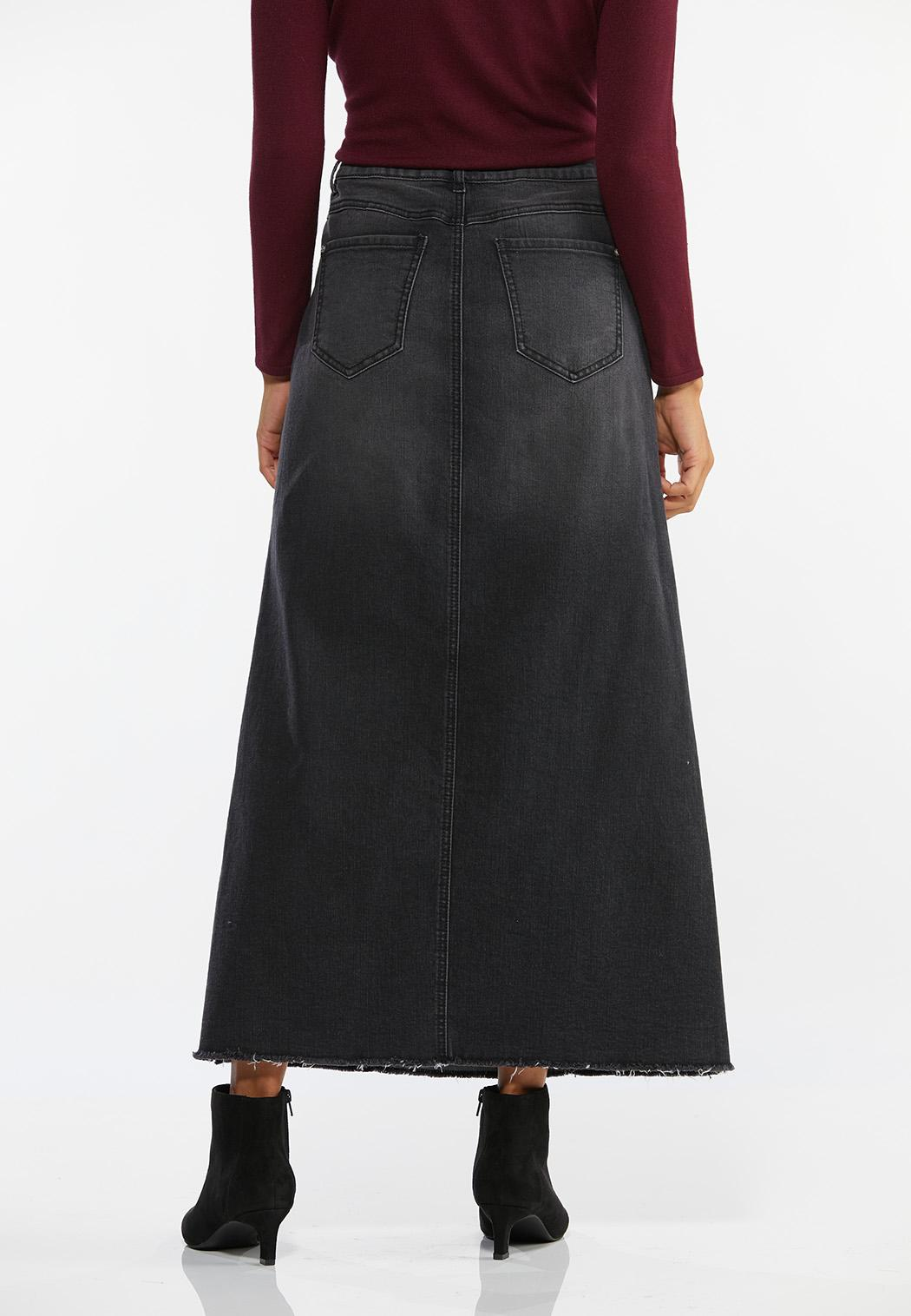 Plus Size Black Denim Maxi Skirt (Item #44464221)