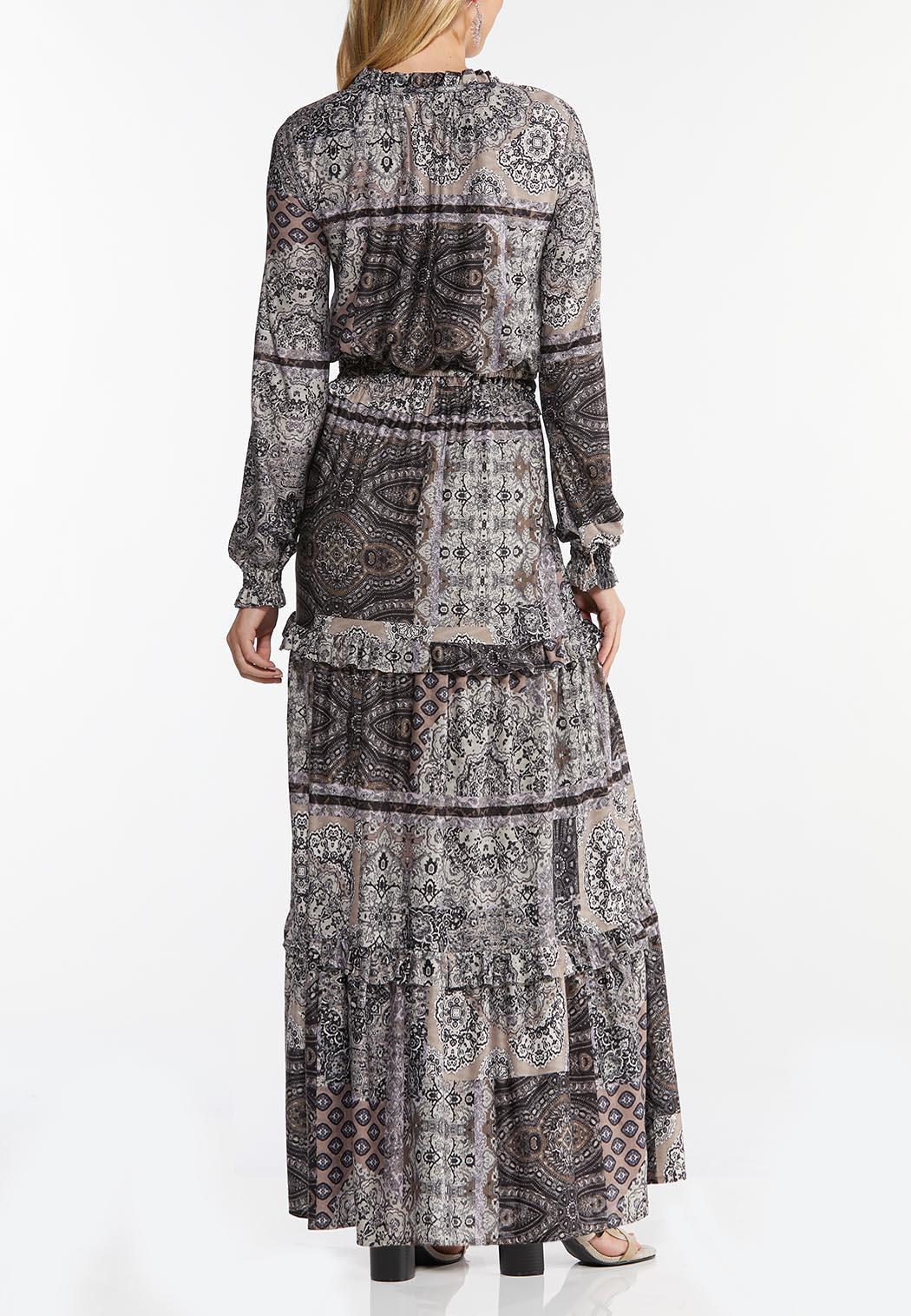 Smocked Patchwork Maxi Dress (Item #44465219)