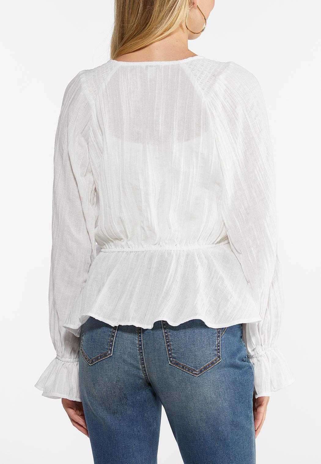 Crinkled Balloon Sleeve Top (Item #44465315)