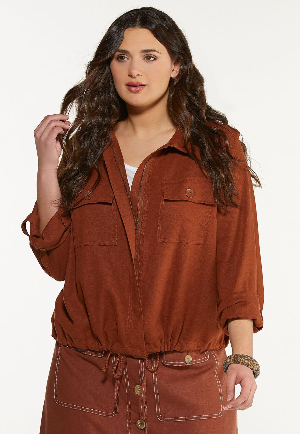 Plus Size Linen Utility Jacket (Item #44465438)