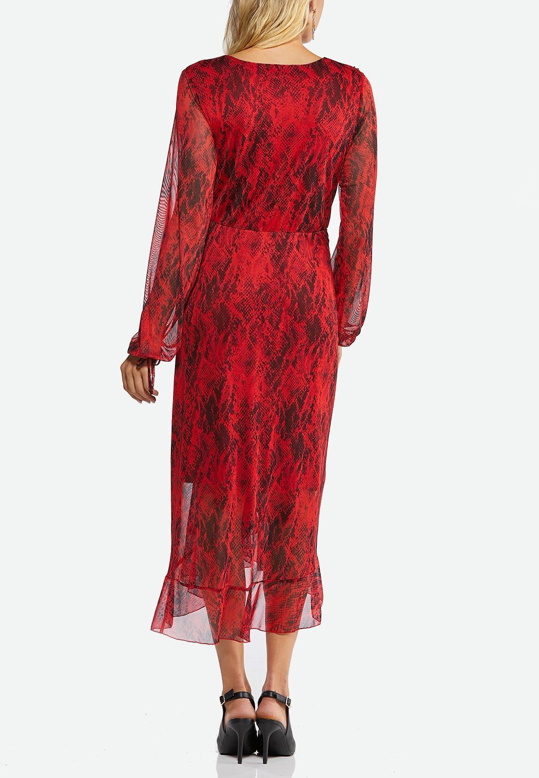 Snakeskin Print Faux Wrap Dress (Item #44465496)