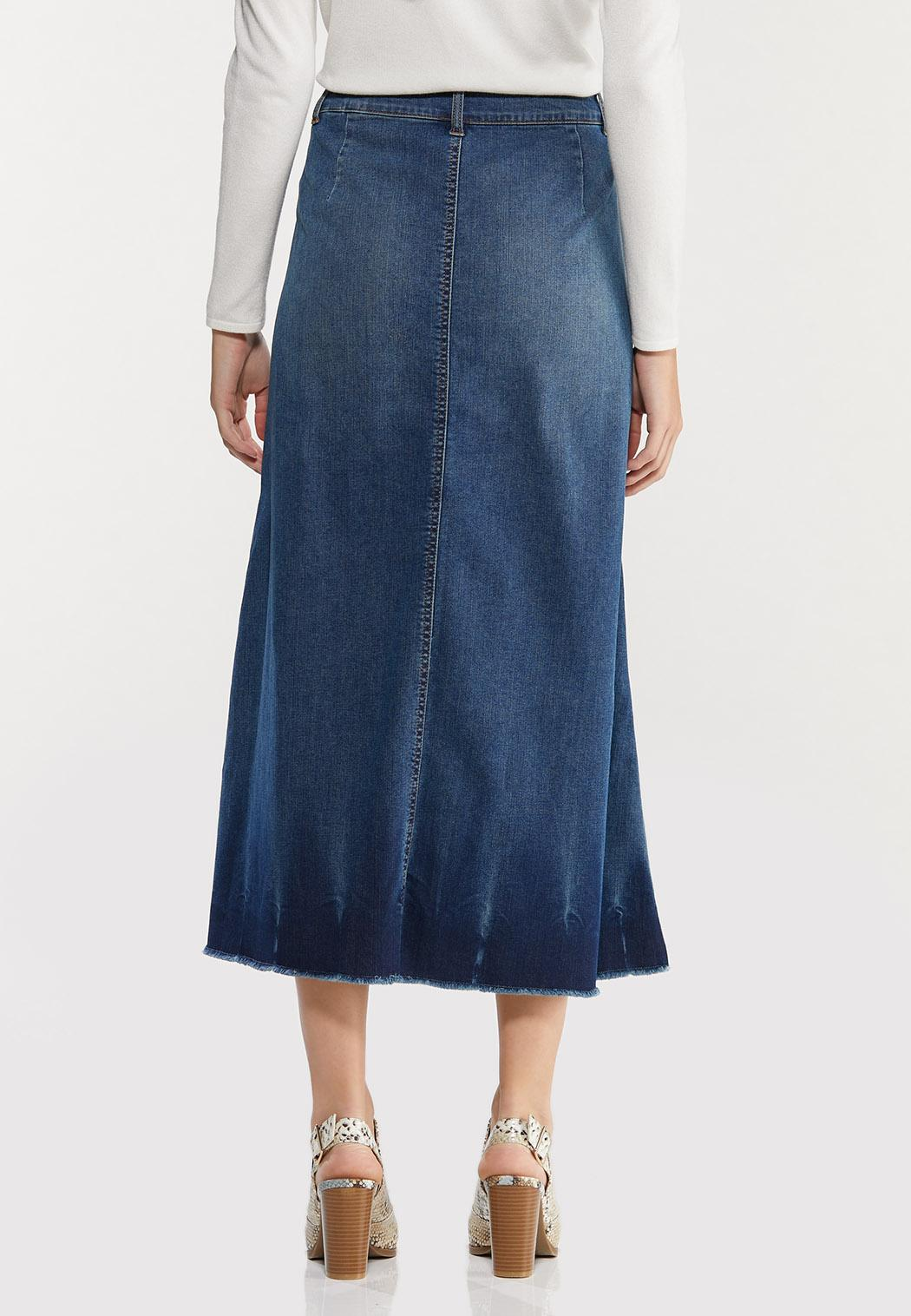 Plus Size Crinkle Hem Denim Skirt (Item #44465531)
