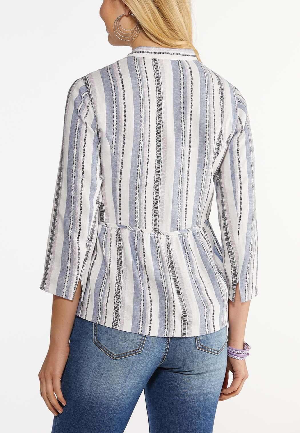 Plus Size Striped Linen Blazer (Item #44465922)