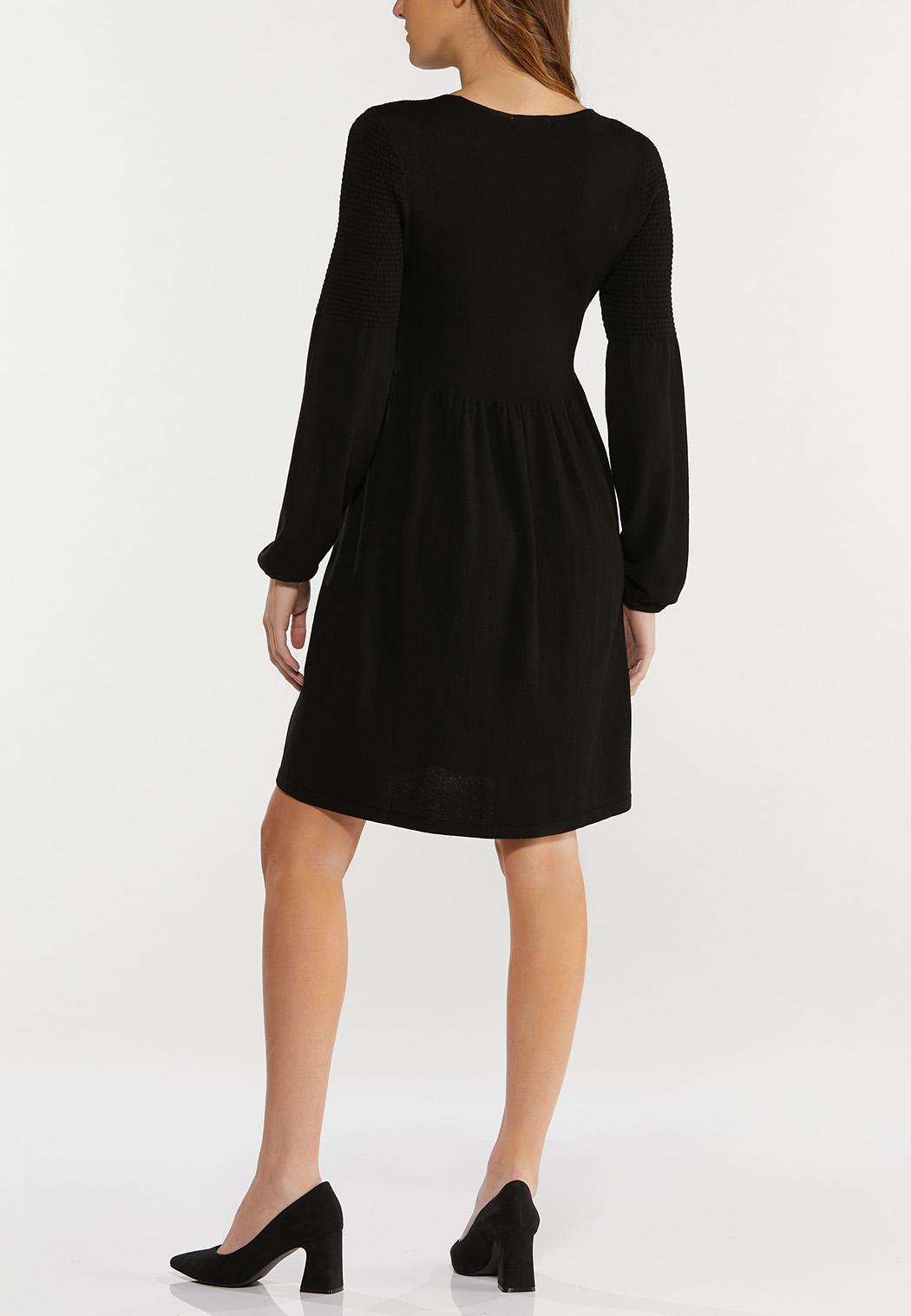 Plus Size Textured Black Babydoll Dress (Item #44465980)