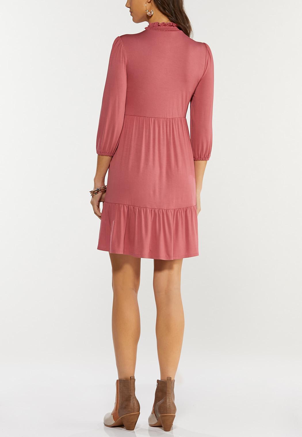 Ruffled Mock Neck Babydoll Dress (Item #44466066)