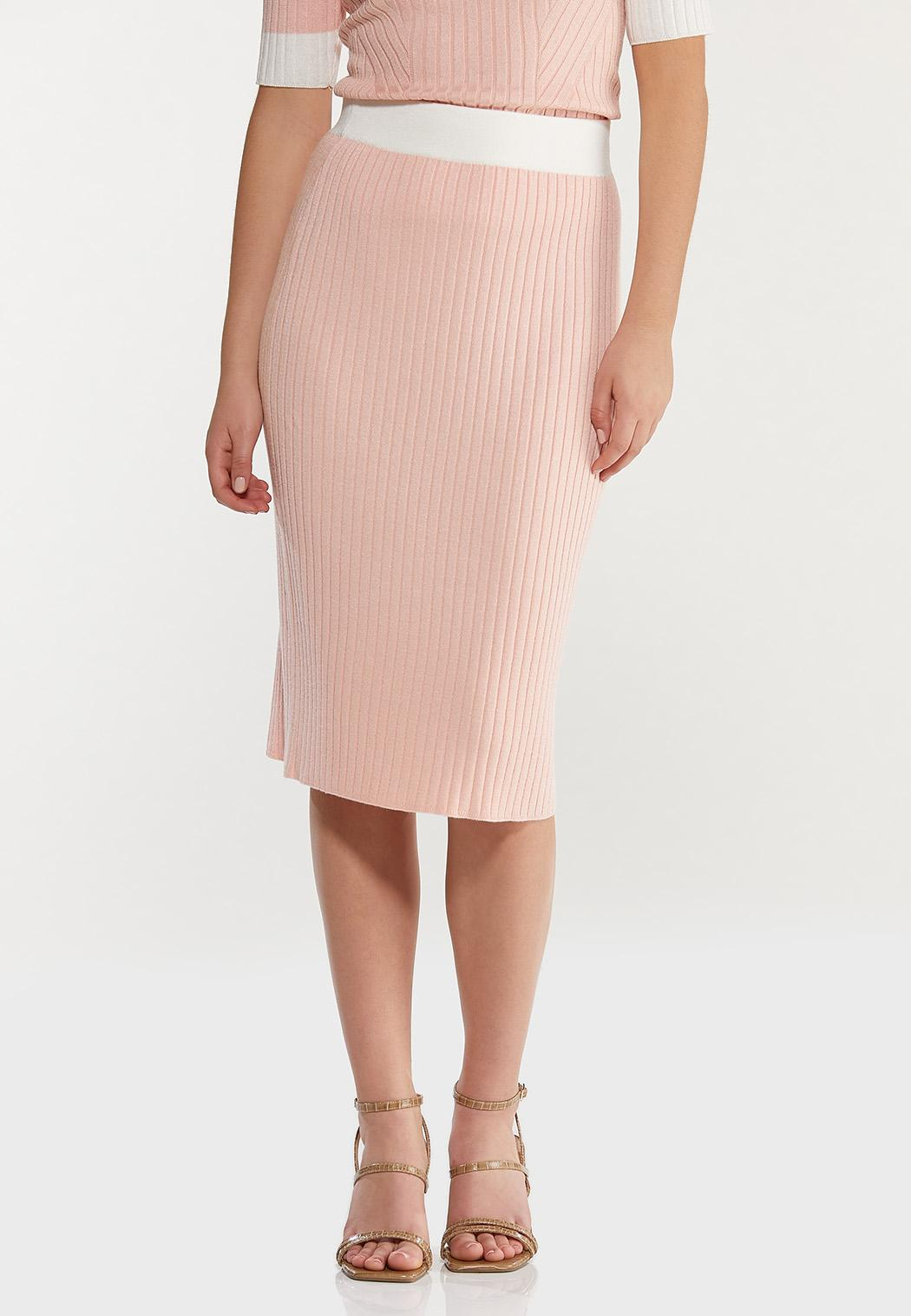 Plus Size Ribbed Midi Sweater Skirt (Item #44466223)